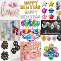 Happy New Year Heart Love Foil Latex Balloons Birthday Wedding Xmas Party Decor