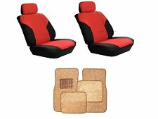 Red & Black Seat Covers with Taupe Carpet floor Mats for Cars SUVS- 8pc. Combo