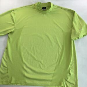 Men's Nike Golf Dri-Fit Mock Neck Logo Tee Shirt Bright Green Size XX Large