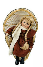 "Porcelain Doll Girl Blonde Hair Red Dress 14"" Tall W/ Wicker Chair Vintage"