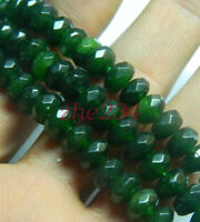 "New 5x8mm Faceted Dark Green Emerald Gemstone Loose Beads 15""beauty"