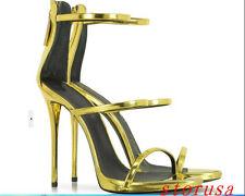 Womens Gold Silver Super High Heel Stilettos Sandals Ankle Shoes Gladiator Roman