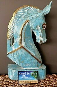 Wooden Carved Horse Head Blue Gold 33cm High NEW