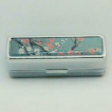 HAND DECORATED LIPSTICK HOLDER LIPSTICK CASE WITH MIRROR JAPANESE BLOSSOM PINK