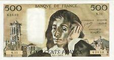 500 francs PASCAL  D2/1/1969 D 1 épinglages pas pli cote SPL 300 EURO