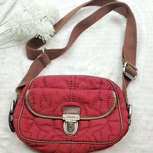 FOSSIL Red Quilted Shoulder Cross Body Key-per Bag Purse
