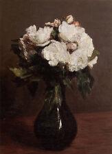 Dream-art Oil painting Henri Fantin Latour White Roses in a black Vase canvas
