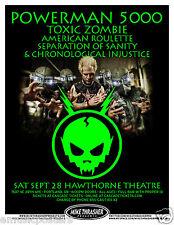 Powerman 5000 /Toxic Zombie /American Roulette 2013 Portland Concert Tour Poster