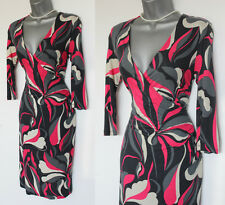 MONSOON Grey Pink Ivory Wrap Style 3/4 Sleeve Comfortable Casual Dress UK 10