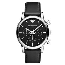 Emporio Armani AR1733 Men's Chronograph Watch Black Leather Strap Silver SS Case