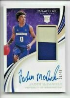 2020 Immaculate Collegiate JADEN McDANIELS Rookie PATCH AUTO /49 T-Wolves RC