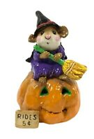 Wee Forest Folk BROOM SERVICE Halloween Edition Orange M-205  Retired With Box