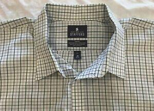 Stafford Travel Purple Striped Tailored Long Sleeve Button Shirt Big 19 34/35