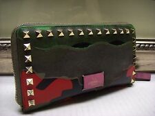 Authentic Valentino Multicolor Camouflage Continental Wallet Zip Wallet $1045