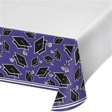 Graduation School Spirit Purple Plastic Tablecloth