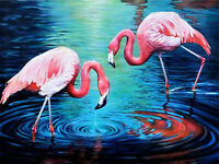Waterfall Scenery Flamingo Full drill 5D Diamond Painting Embroidery Decor N6345