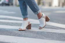 NEW ZARA WHITE LEATHER OPEN TOE MULE ANKLE BOOT HEEL W/ BUCKLE ALL SIZES
