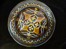 Vintage slip trailed Slipware thrown pottery ceramic pie dish plate Terracotta