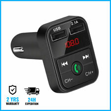 Dual 2x USB Bluetooth Handsfree Car Charger FM Radio Kit Chargeur Voiture Black