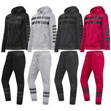 NEW Men Fleece Sweatsuit Striped Track Suit Jogger Jacket Hooded Long Sleeve