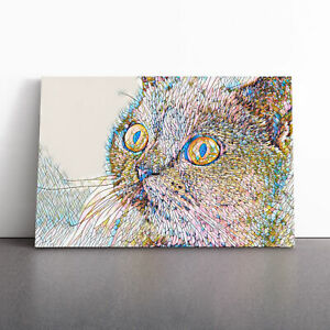 British Shorthair Cat Framed Canvas Print Wall Art Picture Large Home Decor