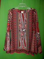 1362) CHICO'S 0 red pullover polyester knit top kerchief flare sleeve floral