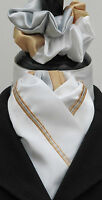 Ready Tied White with Gold & Silver Piping Dressage Riding Stock & Scrunchie