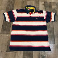 Tommy Hilfiger Mens Large Golf Polo Blue White Striped Dress Shirt Rugby