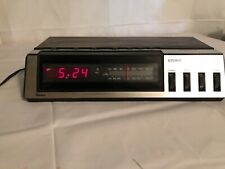 Vtg Sears CLOCK AM FM RADIO Model 317. 23350 250 Red LED. Two Channel Speakers