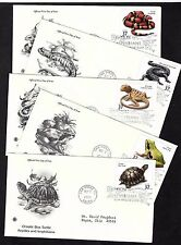#3814-3818  37cj  Reptiles and Amphibians - FULL Set of 5 PCS FDCs w/ Info Pages