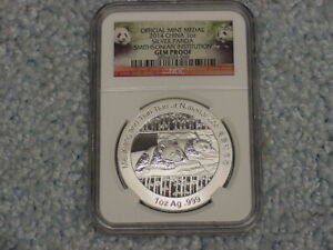 2014 CHINA SILVER PANDA NGC GEM PROOF 1 OZ .999 SILVER COIN IN SLAB