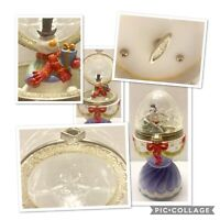 Vtg Frosty the Snowman Christmas Ceramic & Crystal Music Box Silver Plated Rim