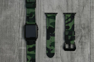Camouflage Waterproof Silicone Rubber Watch Strap For Apple Watch 7 6 5 44/45mm