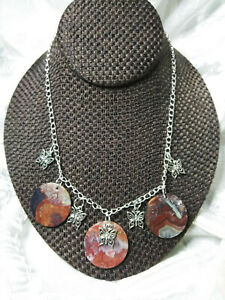 Charm Necklace Handcrafted with Natural Crazy Lace Agate and Butterflies