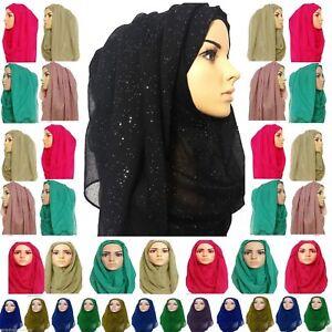 Glitter sparkle shimmer style hijab maxi scarf plain colours viscose *GlTrSc