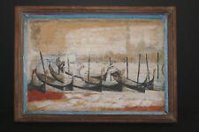 Wonderful Vintage Venetian Harbor Oil Painting On Board 17 x 11 3/4