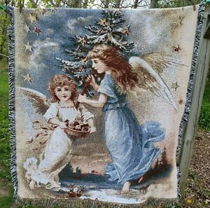 Lillian Vernon Angel Nativity Christmas Holiday Winter Woven Tapestry Wall Art