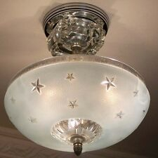 329 Vintage 40's Nautical Maritime Ceiling Lamp Light Fixture { STARS} sky blue