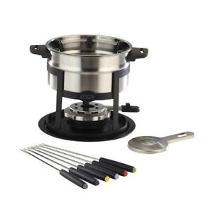 Classic Stainless Steel Fondue 11 Piece Set For Cheese Dipping 1.6L
