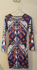 sexy retro boho bodycon dress hippie geometric pattern long sleeve party