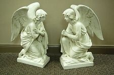 """Traditional Pair of Adoring Angel Statues - 28"""" (Church Statuary Co.)"""