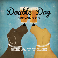 LABRADOR RETRIEVER CHOCOLATE YELLOW DOUBLE DOG BREWING Co Advert Poster Print