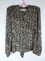 Coldwater Creek Womens Size 18 Black Tan Button Up Top Long Sleeve Blouse