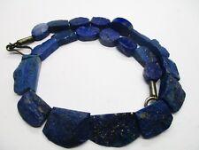 Dark Blue CHUNKY  Hammer Cut Collar Lapis Lazuli Rough Beads strand Afghan-L933
