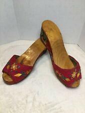 Vintage 1940's Carved Wooden Shoes Asian Scene Velvet Slip On Clog Heel