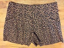 Ann Taylor Loft Brown Cheetah Animal Print Shorts, Pleated Front, Size 2, NWT