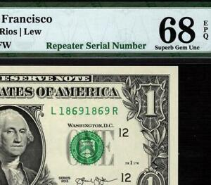 2013 $1 San Francisco *Repeater Serial 1869 1869 FRN 3001-L • PMG 68 EPQ TOP POP