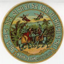 """KAHN & KAHN Made in England"" Etiquette-chromo originale fin 1800"