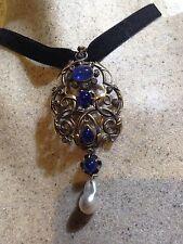 Antique Genuine Sapphire Rose Cut Diamonds 925 Sterling Silver Necklace Pendant