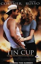 RENE RUSSO SIGNED TIN CUP 11X17 MOVIE POSTER PSA COA AD48100